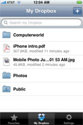 The Dropbox iPhone app lets you manage shared files from your phone.