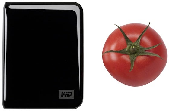 Western Digital USB Portable Hard Drive and a Tomato