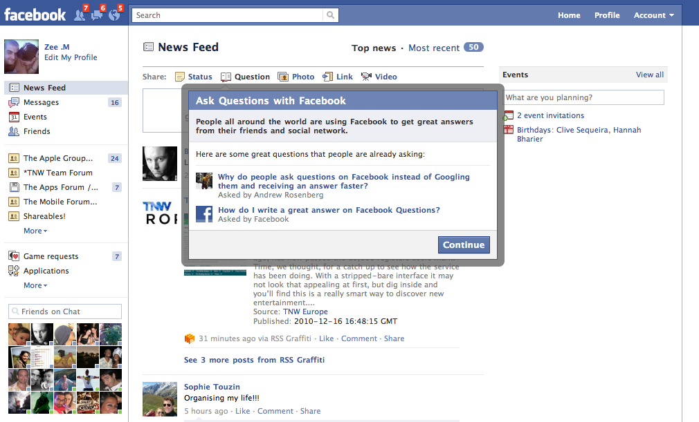 Whoops! An Accidental Facebook Feature Sneak Preview   PCWorldQuestion And Answer Images For Facebook