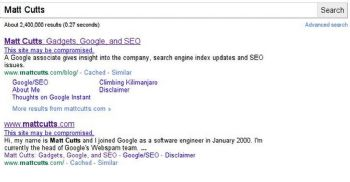 A warning appears under search results for pages that could potentially be compromised.