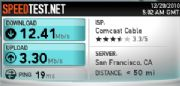 Speed test for Comcast broadband service