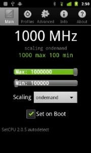 SetCPU software on the Android Marketplace lets you overclock a smartphone.