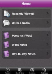 Microsoft OneNote Mobile for iPhone lets you access your OneNote info from your smartphone.
