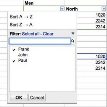 Now you can filter content in Google Spreadsheets.
