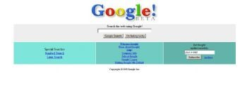 Early Google homepage
