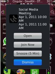 BlackBerry Mobile Conferencing's popup, with its one-click Join Now button.