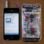 The hackerspace's prototype iPhone 'Geiger dock'.