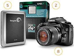 Seagate, AMD, Canon
