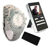 Spy-camera wristwatch transmits video and audio to included mini-DVR.