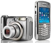 Canon's bargain-priced PowerShot A590 IS (left), and RIM's Wi-Fi-equipped wonder, the BlackBerry Pearl 8120.