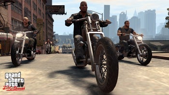 Two-wheeling with Grand Theft Auto IV.