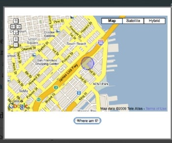 The geolocation demo page found me.