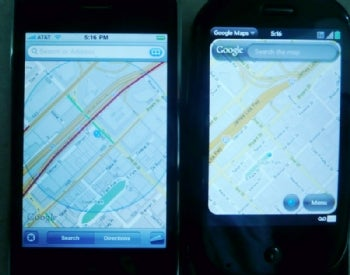 Google Maps on Apple iPhone 3GS, Palm Pre