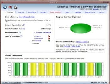 Secunia PSI screenshot
