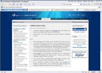 Orca Browser screenshot