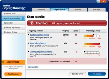 RegistryBooster 2010 screenshot