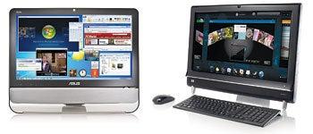 Asus EeeTop ET 2203 (left); HP TouchSmart 600 Quad