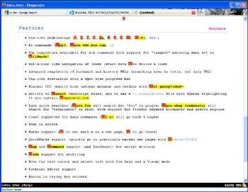 Vimperator screenshot