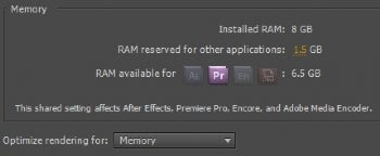 Adobe Premiere Pro CS5 memory requirements