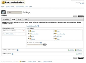 Norton Online Backup screenshot