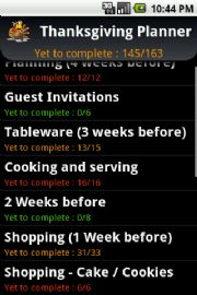 Thanksgiving Planner Android app